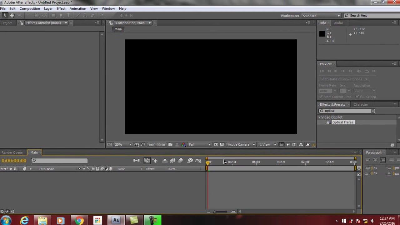 After Effects Tutorial Simple Laser Light Using Optical Flares Plug-in Part 1