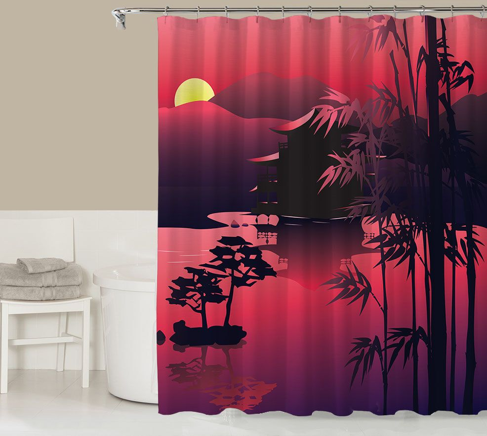 Landscape shower curtain contemporary bathroom decor magenta and