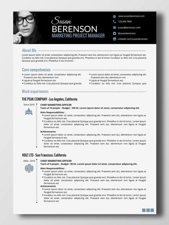 Professional resume - 2 pages (word) With an impactful banner
