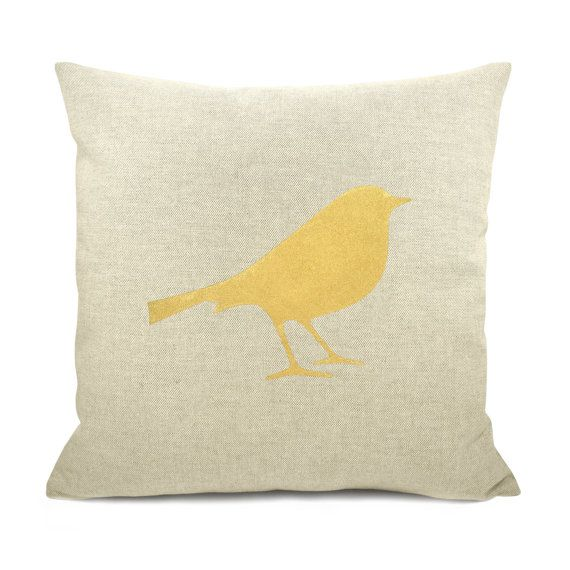 Yellow Bird Print On Canvas Personalized Pillow Cases Pillows Bird Pillow