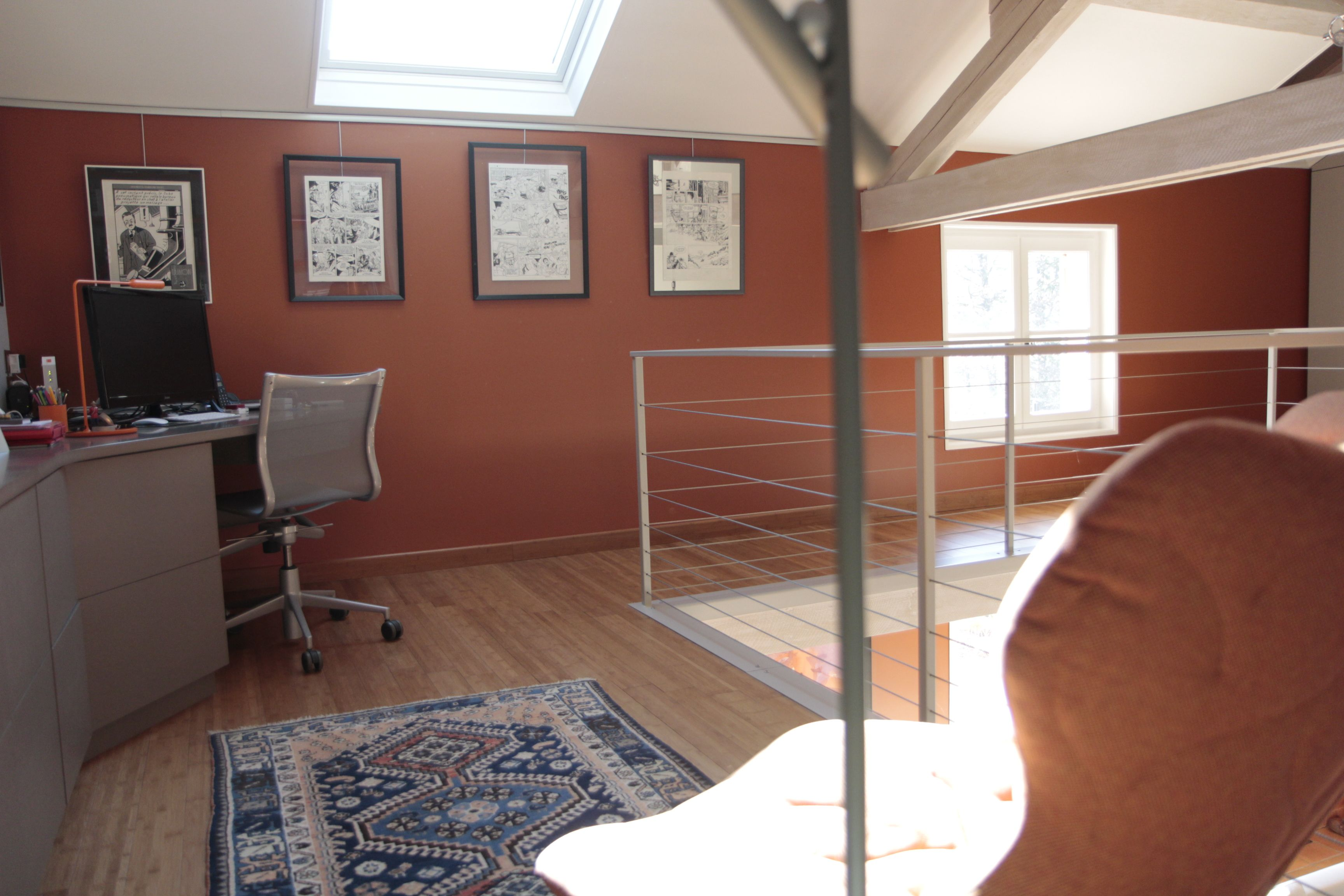 Rénovation espace bureau mezzanine maison de campagne teinte