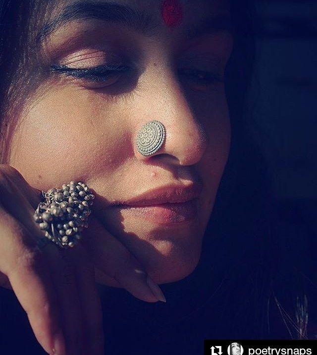 Macs Jewelry Boho Indian Silver Nose Pin Actor Kavitha Nair She