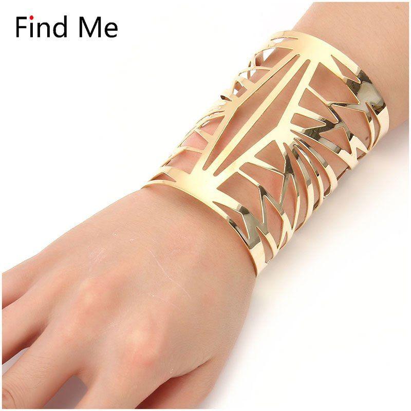 Fashion Vintage Punk Women Gold Hollow Heart Bangle Manchette Large Bracelet Bracelet