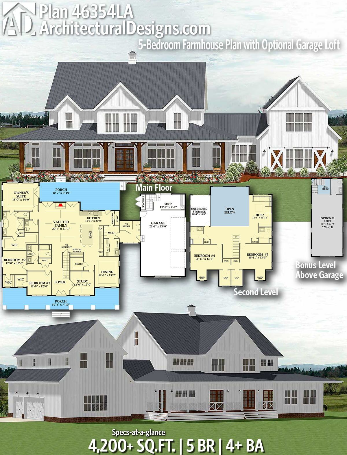 Plan 46354la 5 Bedroom Farmhouse Plan With Optional Garage Loft House Plans Farmhouse Farmhouse Plans Modern Farmhouse Plans