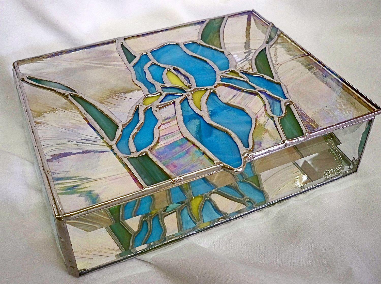 STAINED GLASS Jewelry BOX Iris Glass jewelry Glass and Mosaics