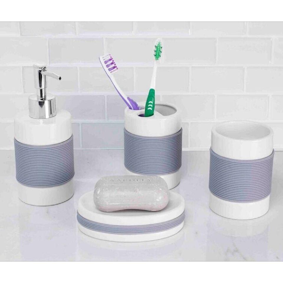 Home Basics White Ceramic 4-piece Bathroom Accessory Set | Ceramic ...