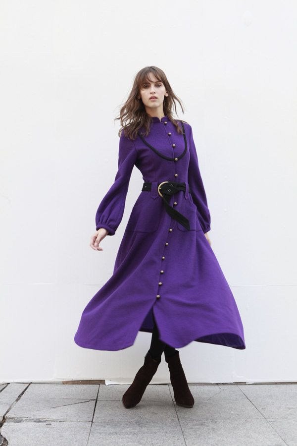 Violet Cashmere Coat Long Sleeve Wool Jacket Big by Sophiaclothing. , via Etsy.