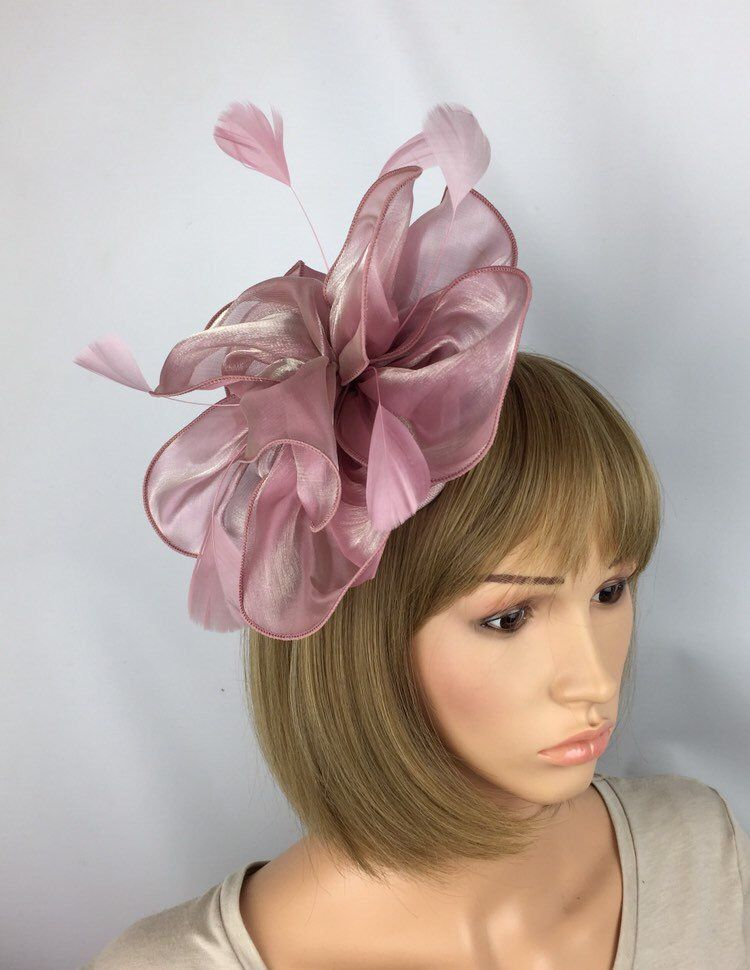baby pink crin fascinator headband headpiece wedding party race ascot bridal