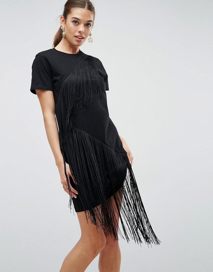 Mini T-Shirt Dress With Fringe Detail - Black Asos fusrxqzET