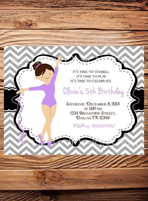 Gymnastics Birthday Party Invitation GIRL By StellarDesignsPro