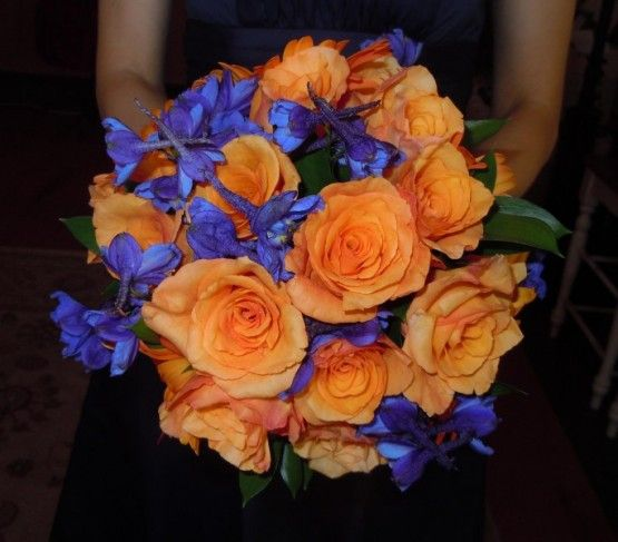 blue+bridesmaids+with+blue++orange+bouquet | Orange and ...