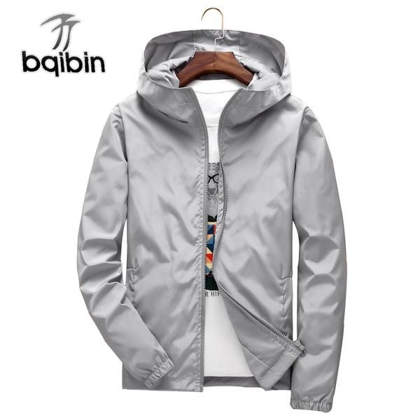 abb0a0ab47aa4 BIAOQIBING 2018 Spring Men s Hooded Jacket Windbreaker Solid Color Bomber  Jackets Men Zipper Coat Male Clothings