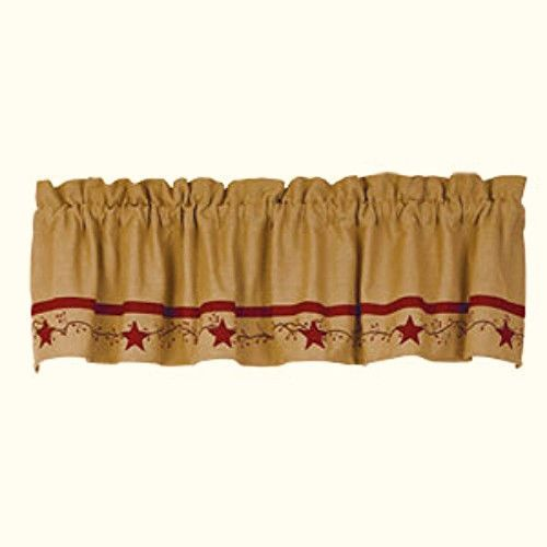 New Primitive Country Red Burgundy BERRY VINE STAR Burlap Curtain Window Valance