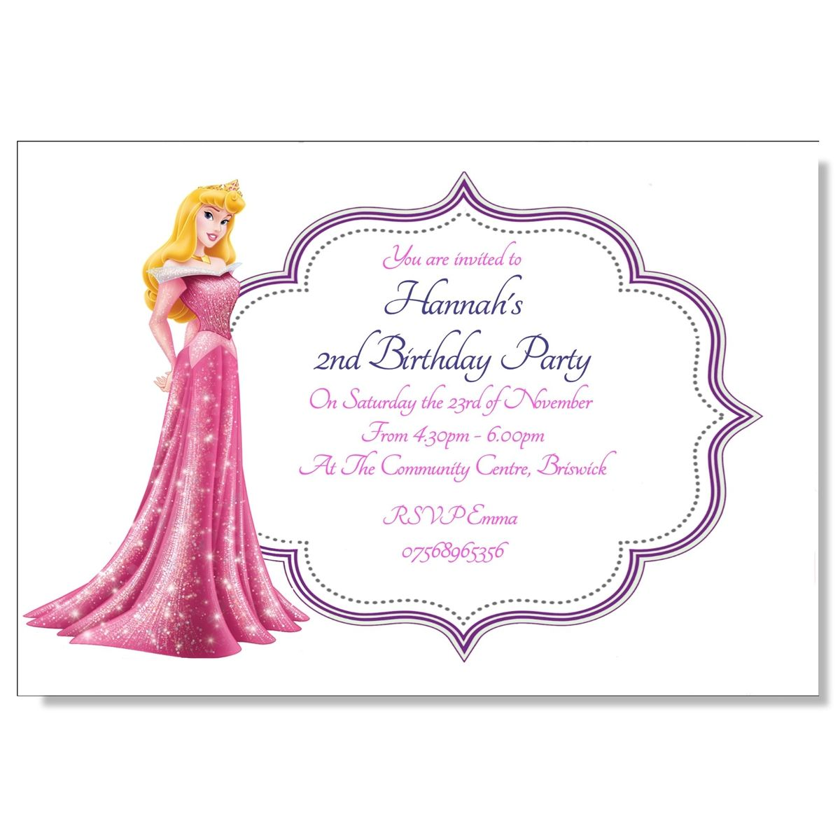 Personalised Invitations Girls Birthday Party Thank You Disney ...