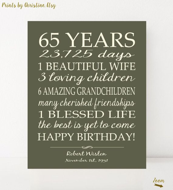 65th Birthday Gift Sign Print Personalized Art Mom Birthday Dad