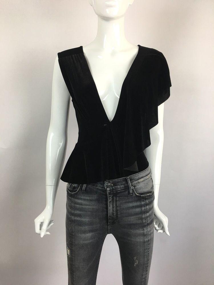 8d7503bf2ff7 MISA LA Sleeveless Deep V Neck Ruffled Draped Bodysuit Top Black Velvet XS  $216 #MISA #Bodysuit #Casual
