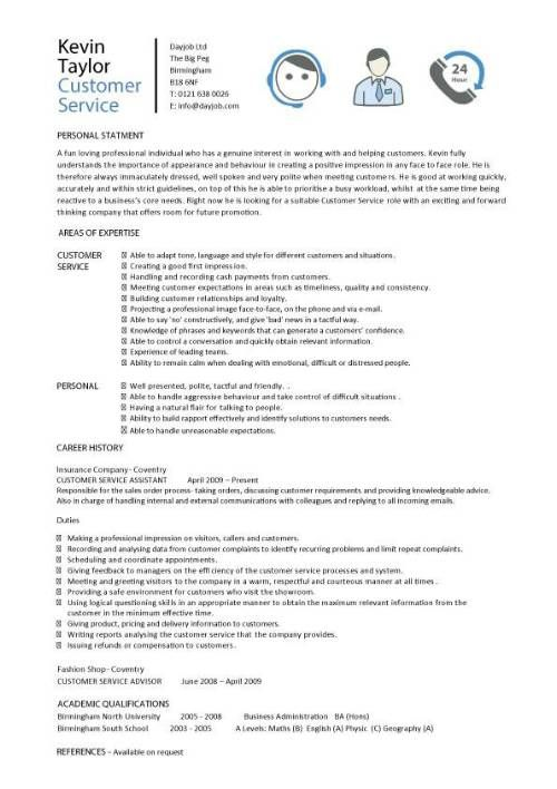 Customer service resume templates, skills, customer services cv - service advisor resume