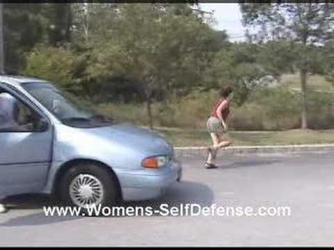 Women's self defense - Car Jacking - the doors should have been locked and the windows up, but in case it happens, this is one good way to defend against a car jacking - NEVER go to the scene of the 2nd assault.