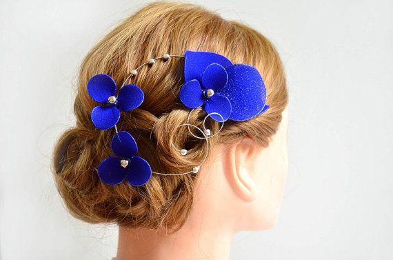 royal blue elegant and simple fascinator royal blue hair piece bridesmaids hair bridal headpiece wedding hair accessories hair flower by myartdeco