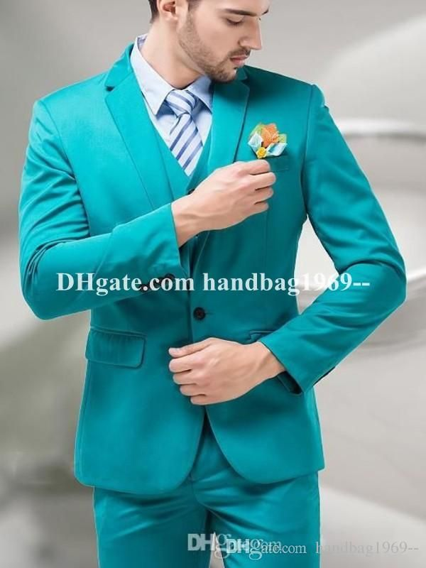 New Arrivals One Button Turquoise Groom Tuxedos Notch Lapel ...