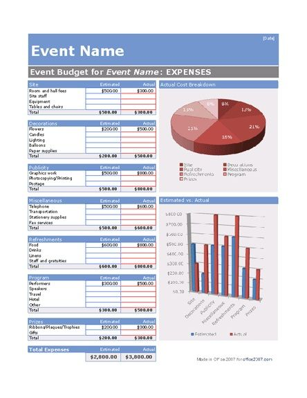 Microsoft Office S Free Event Planning Template Great For Helping Non Profits Plan Large Events H Event Budget Template Event Budget Event Planning Template