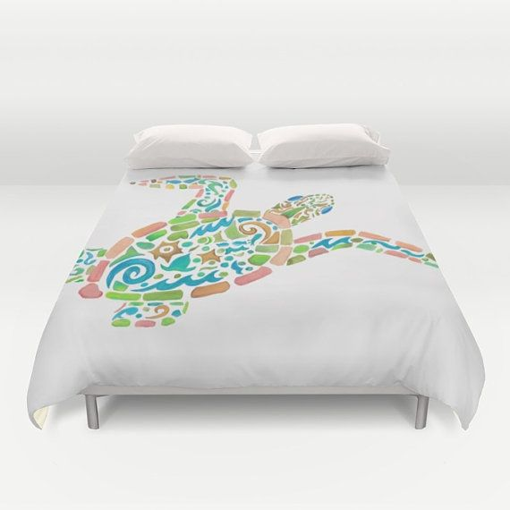 Sea Turtle Duvet Cover Or Comforter Surf By Artfullyfeathered