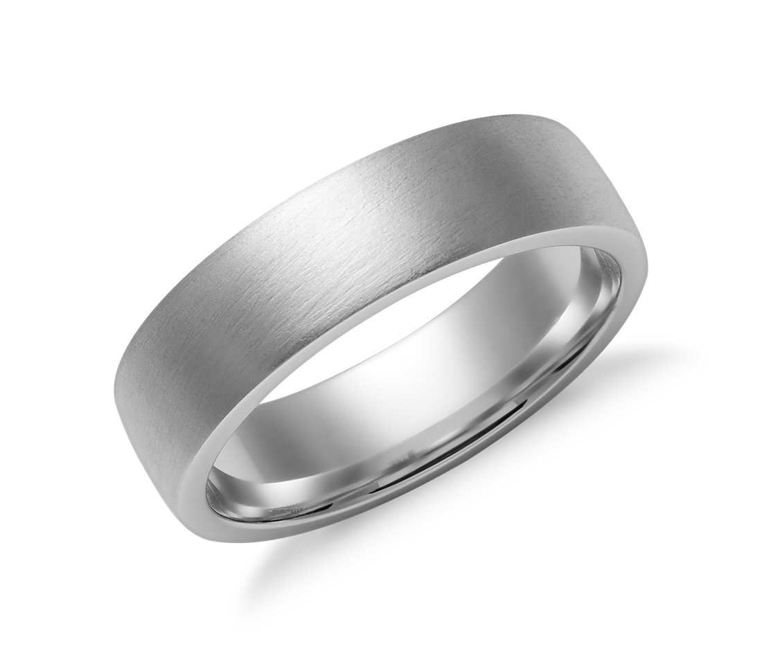 566cad6fb34f8 Matte Low Dome Comfort Fit Wedding Ring in 14k White Gold (6mm ...