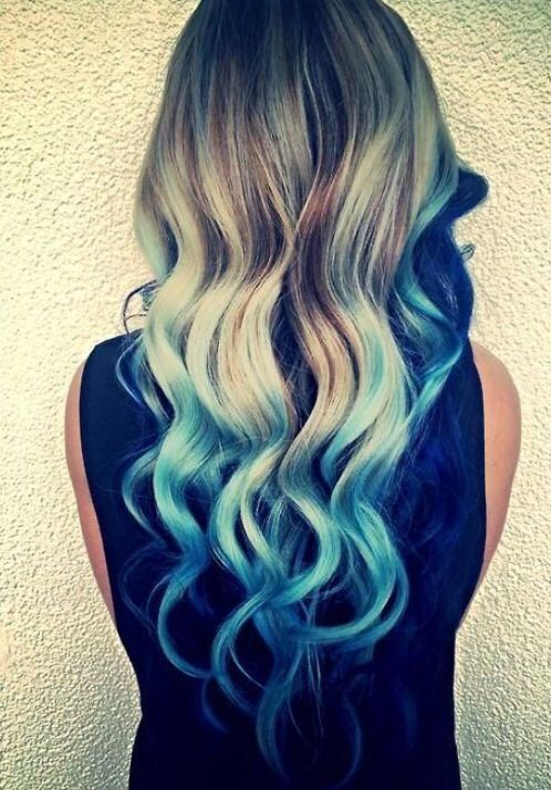 Ombre Blonde To Blue Hair Styles Blue Tips Hair Blue Ombre Hair