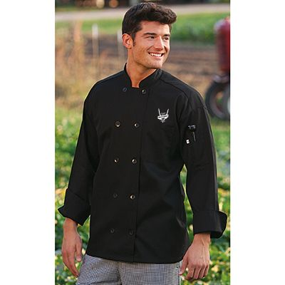Brattender Chef Jacket – Lightweight easy care poplin chef coat with 10 buttons features chest and thermometer pockets. Brattender logo embroidered on left chest in white. $40.00