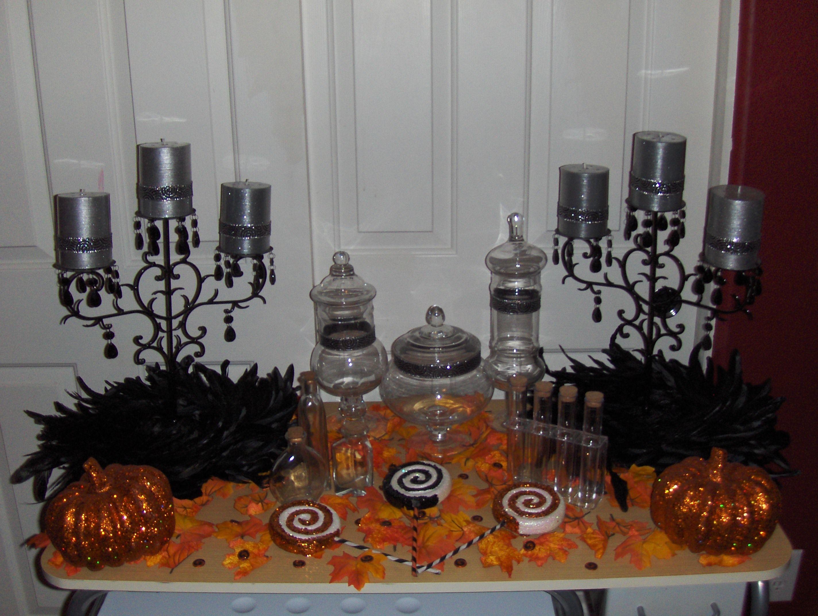 Halloween buffet table - Our Candy Bar