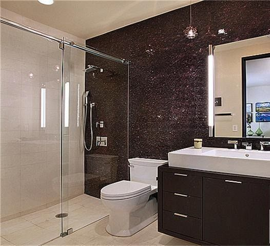 Luxury beach house laguna california black and white bathroom with glass door shower also wall paint bunny grey benjamin moore tile slate blue floor