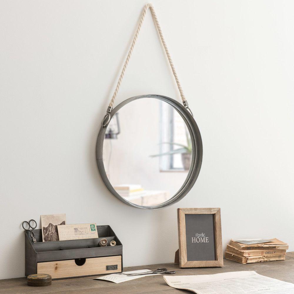 Specchio rotondo da appendere con corda in metallo d40 for Espejo maison du monde