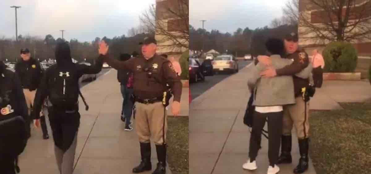 County deputies greet returning students with handshakes
