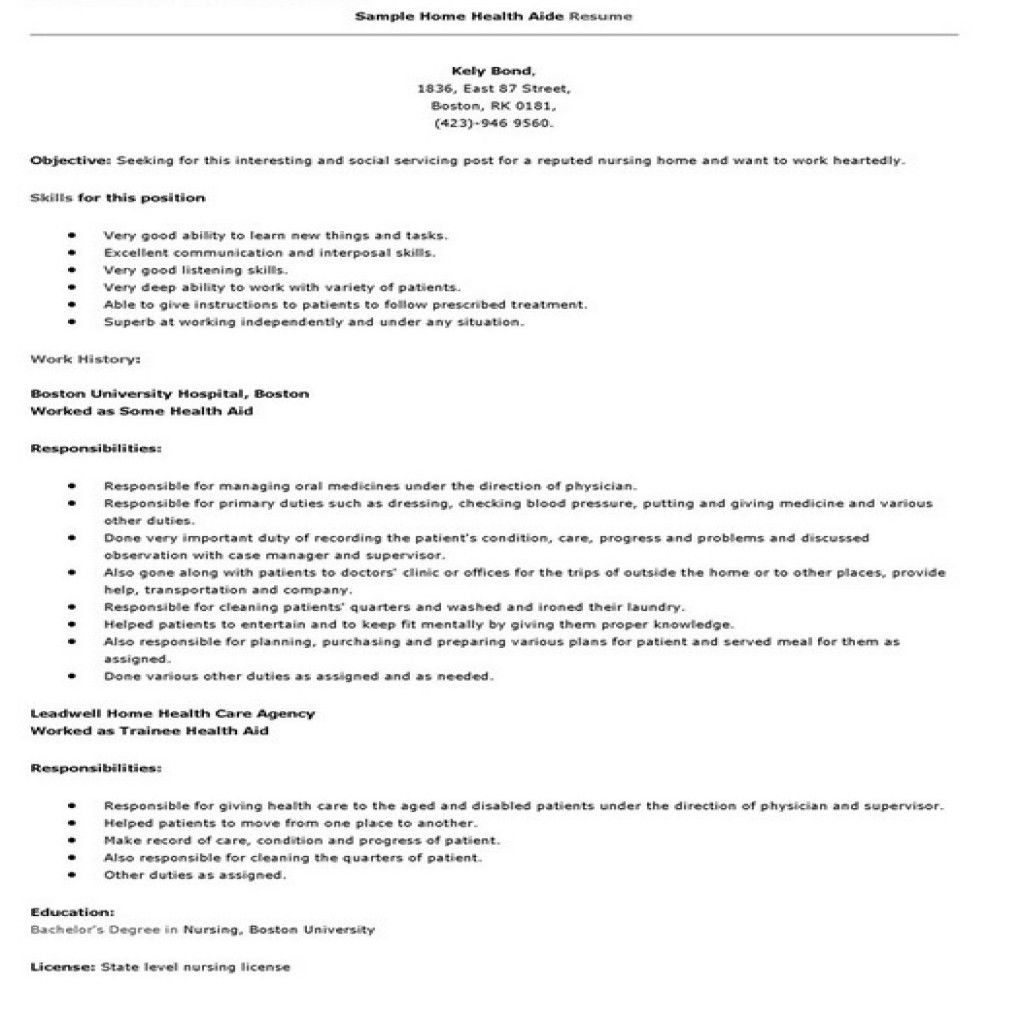Home Health Care Resume  Home Health Care Resume