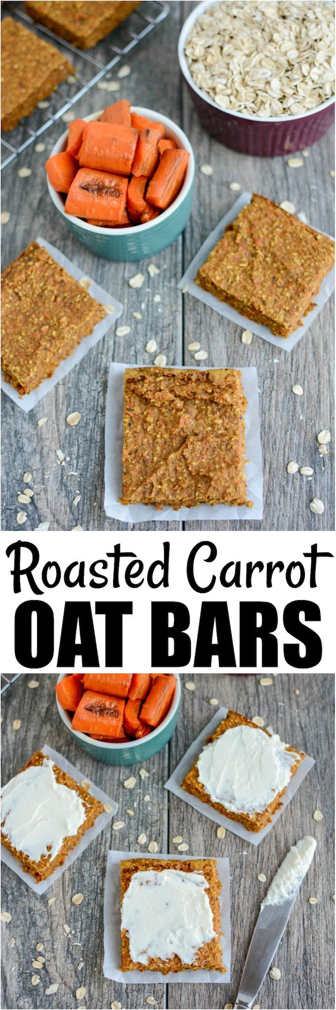 Carrot Oat Bars is part of Healthy snacks - These Carrot Oat Bars make the perfect healthy snack  They're dense, chewy and easy to make in the blender  Plus they're kidfriendly and also make a great addition to breakfasts and lunches