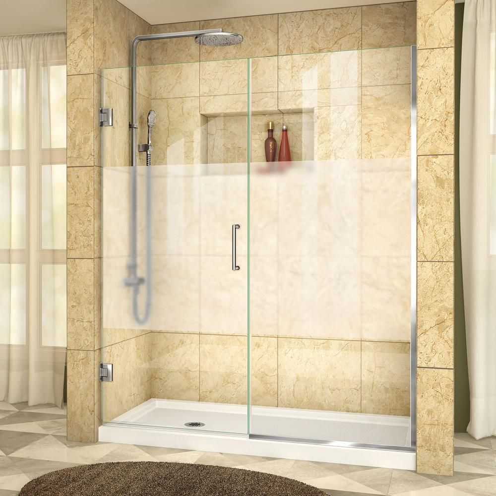 Dreamline Unidoor Plus 59 To 59 1 2 In X 72 In Frameless Hinged Shower Door In Chrome Shdr 245907210 Hfr 01 The Home Depot Frameless Hinged Shower Door Frameless Shower Doors Chrome Shower Door
