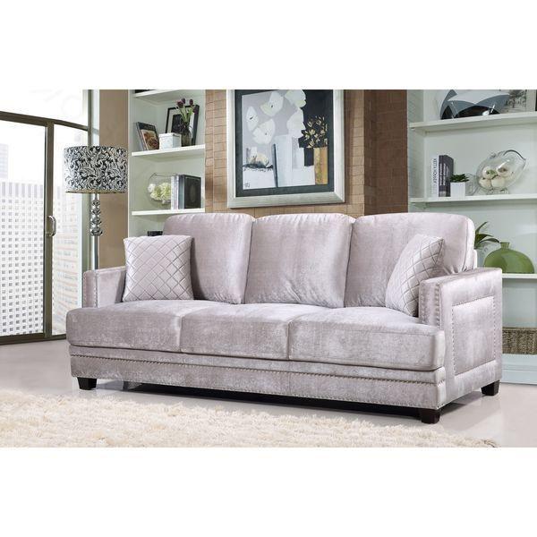 Outstanding Ferrara Grey Velvet Nailhead Sofa Gray Living Room Sofa Theyellowbook Wood Chair Design Ideas Theyellowbookinfo