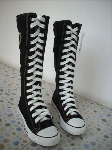 f7c532b1899 I found  Women Girl Punk EMO Rock Gothic zip Lace up Canvas boot shoe  sneaker knee high  on Wish