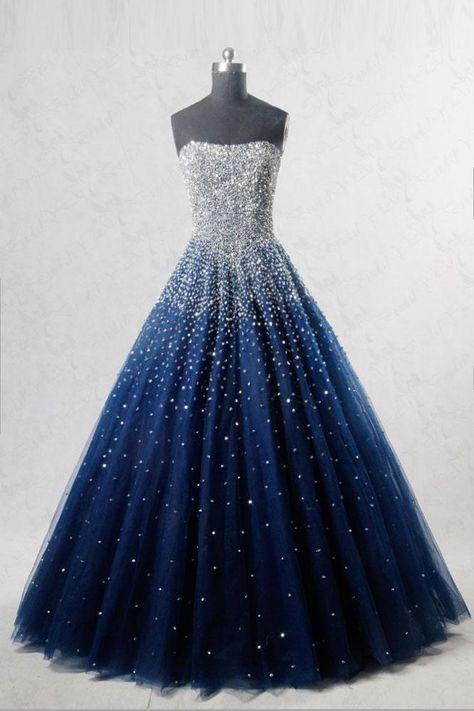 Blaues langes Abschlussballkleid aus Pailletten-Tüll, blaues Abendkleid #eveningdresses