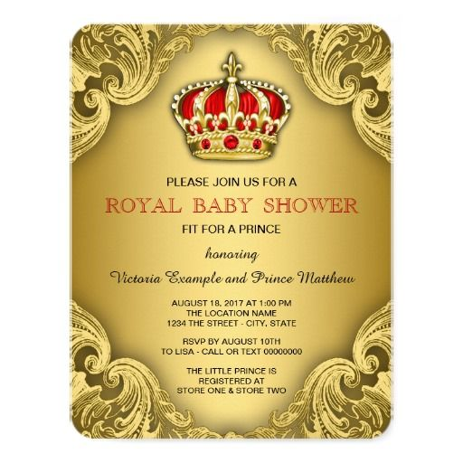 Fancy Prince Baby Shower Red And Gold 4.25x5.5 Paper Invitation Card