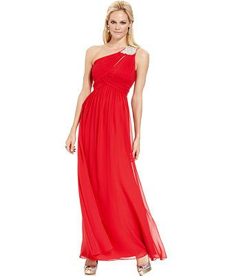 263f7a9f0 Calvin Klein One-Shoulder Jewel-Brooch Gown - Juniors Prom Dresses - Macy's