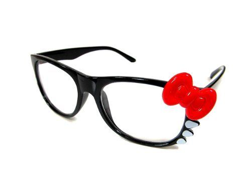 932bddd26 HELLO KITTY RED BOW BLACK FRAME CLEAR LENS GLASSES SUNGLASSES by Troy  Designs. $6.95. Cute HK nerdy clear lens white frame with red bow.