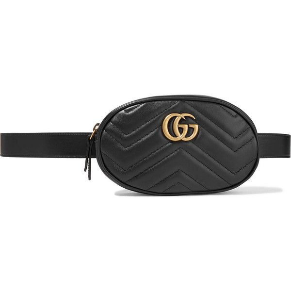 843689717576 Gucci GG Marmont quilted leather belt bag (1 345 AUD) ❤ liked on Polyvore  featuring bags, black, gucci, gucci bags, belt bag, leather waist bag and  leather ...