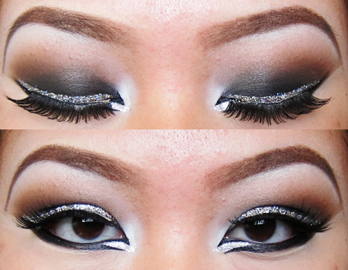 Dramatic brown and glitter eyemakeup