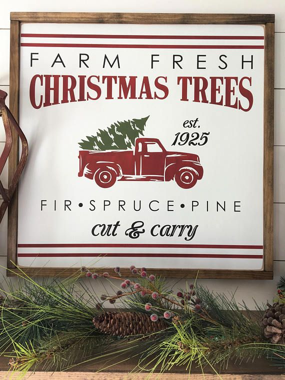 Vintage Christmas Tree Farm With Red Truck Framed Wood