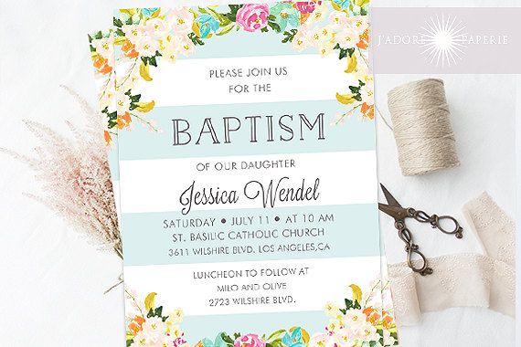 Gorgeous Floral Baptism Invite, Floral Watercolor Invite, LDS ...