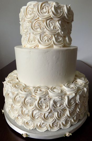 3 Tier Buttercream Wedding Cake Decorated With Buttercream
