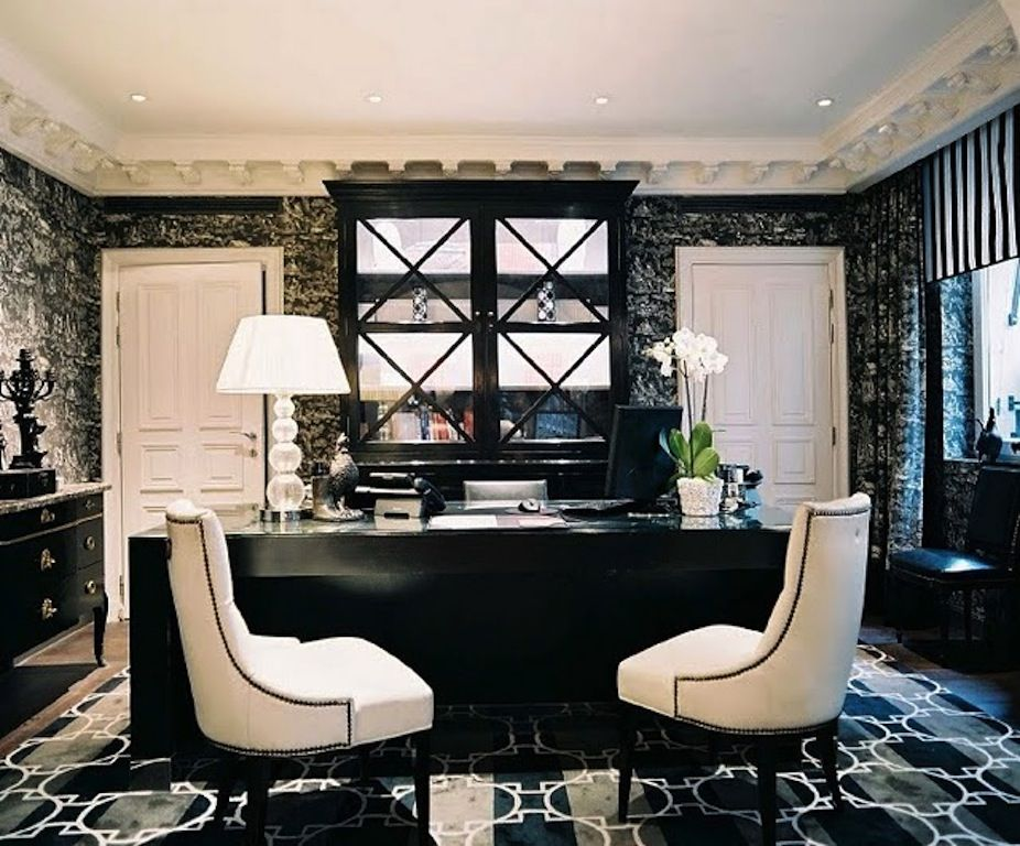 Modern Special Home Office Design Cozy Black White Ideas With Two Chairs