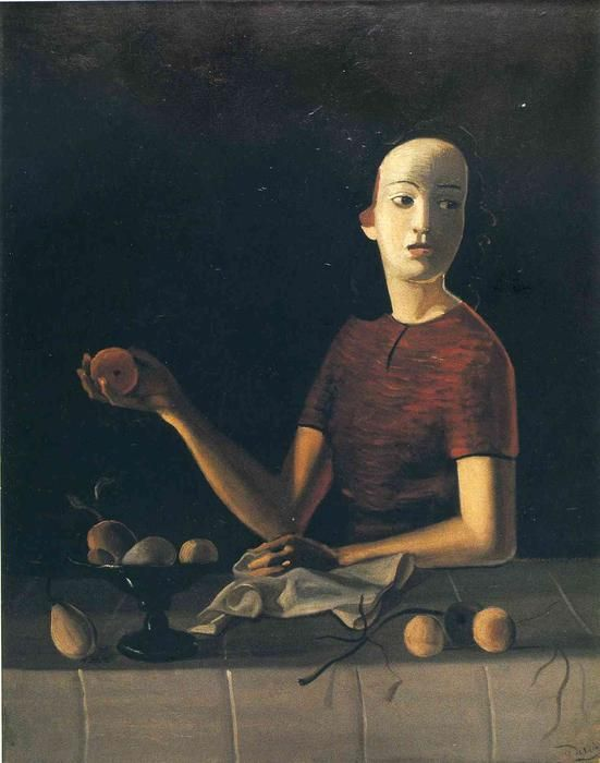 'Jane hält einen Apfel', öl auf leinwand von André Derain (1880-1954, France)