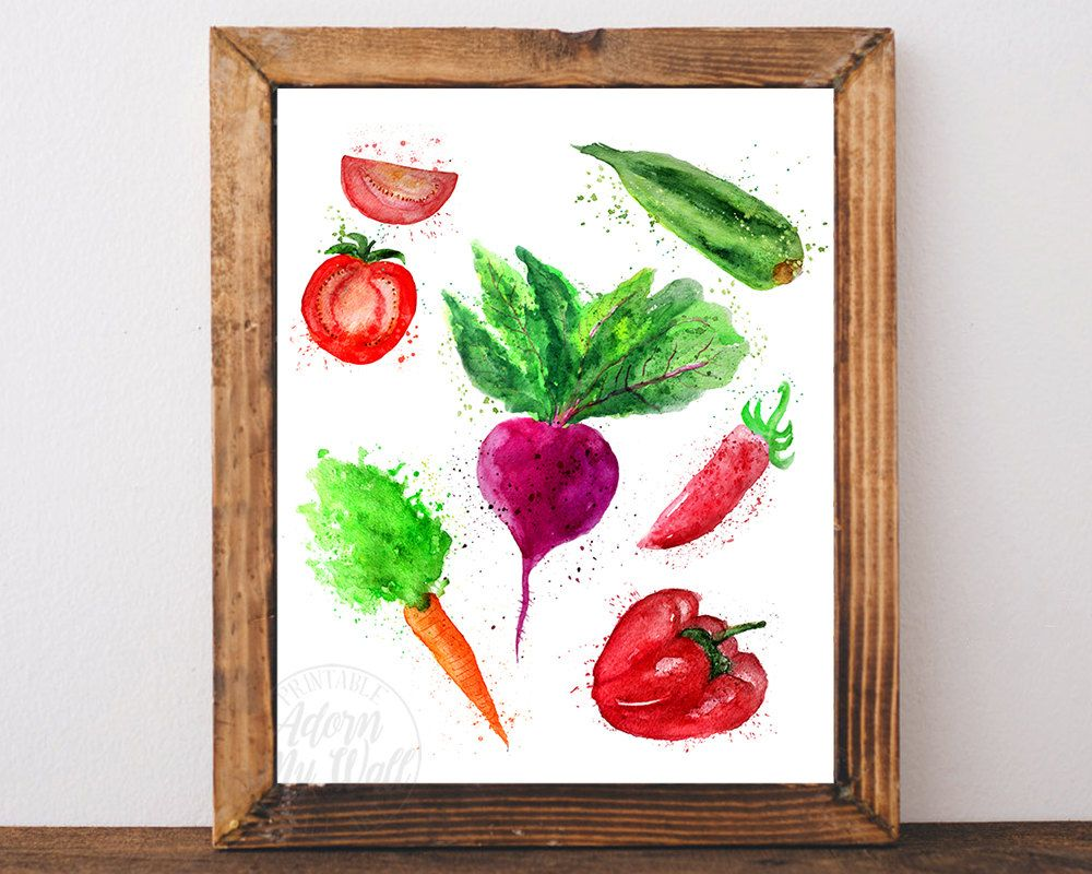 Vegetable Art Print Kitchen Wall Decor Poster Watercolor Food